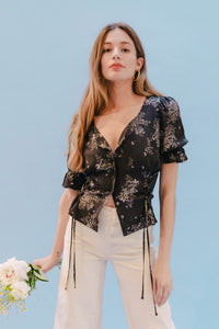 THE DOUBLE LACEUP TOP ~ FLUTTER  ~ Final Sale