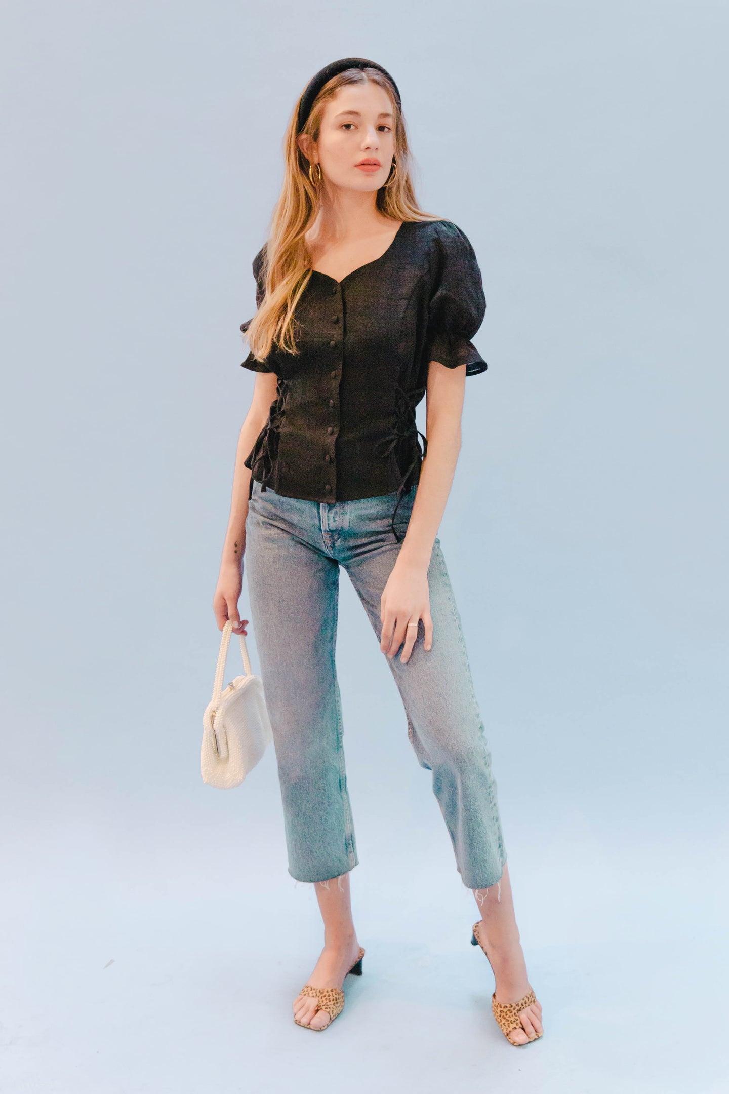 THE DOUBLE LACEUP TOP ~ BLACK