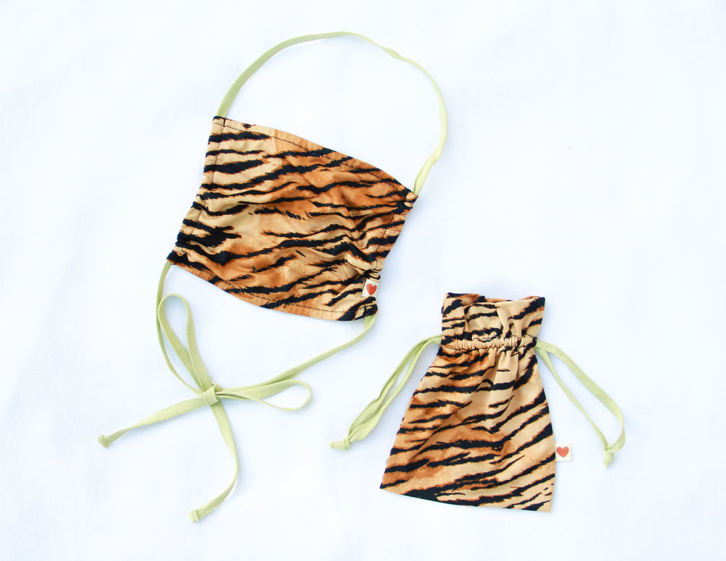 FACE MASK + MATCHING POUCH ~ TIGRESS