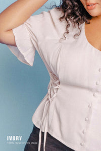 THE DOUBLE LACEUP TOP ~ IVORY