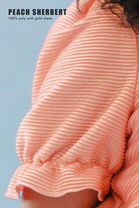 THE SQUARE NECK CINCHED TOP ~ PEACH SHERBERT
