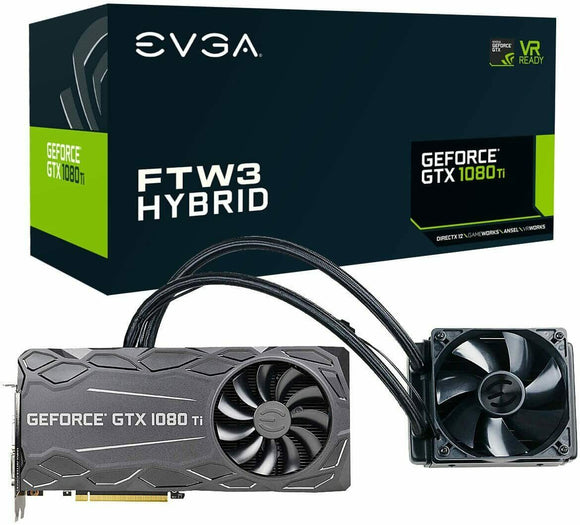 EVGA GeForce GTX 1080 Ti FTW3 Hybrid Gaming 11GB Graphics Card *USED*