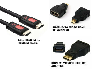 HDMI Cable & HDMI to Mini & Micro Adapter Set 3 IN 1