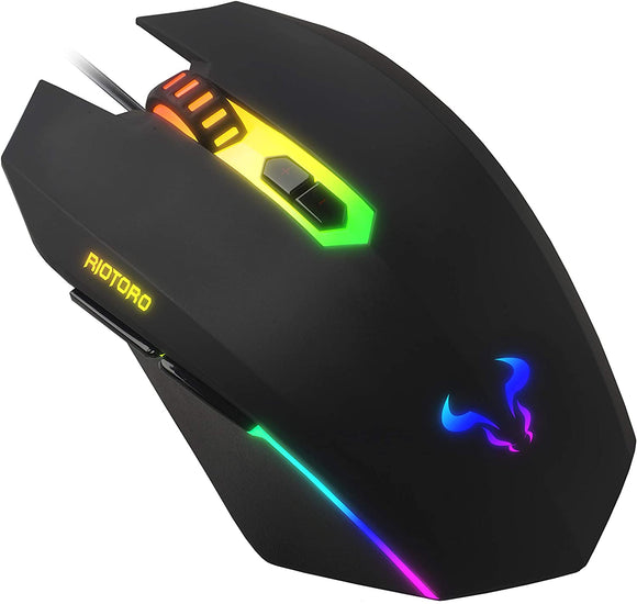 Riotoro Uruz Z5 Wired RGB Gaming Mouse, Black