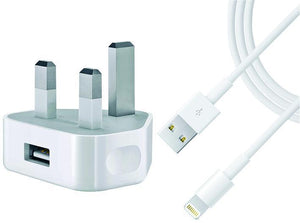 2 Amp Mains + Lightning USB Cable