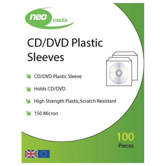 CD / DVD Plastic Sleeves 100pk
