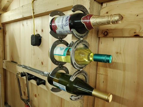 Wall mounted 3 bottle horseshoe wine rack
