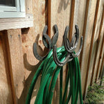 Repurposed Horseshoe Garden Hose Holder - BlackflagSteel