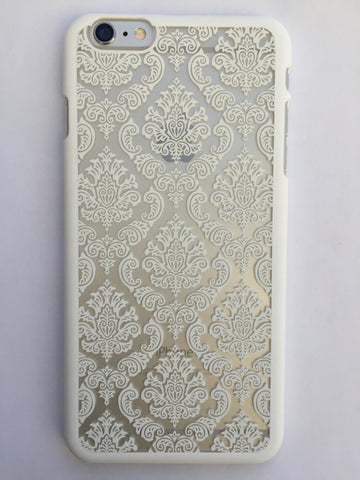 Vintage Lace iphone cover in white - 6 Plus