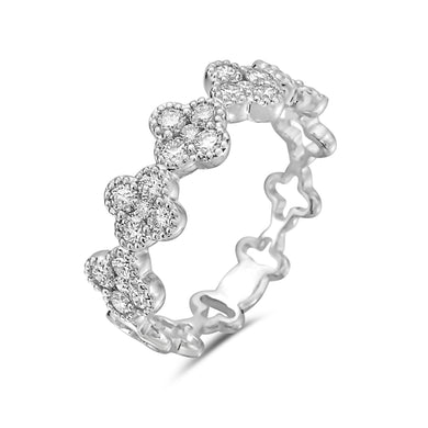 18K White Gold Diamond Clover Design Ring
