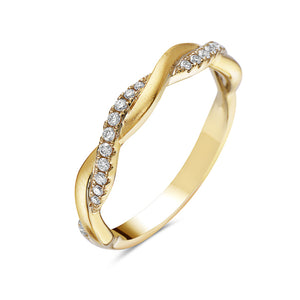 14K Yellow Gold Intertwining Diamond Twist Ring