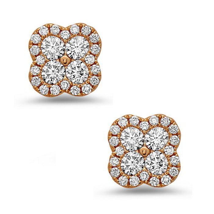 18K Yellow Gold Diamond Clover Stud Earrings