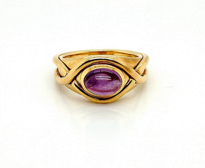 Tiffany & Co. 18K Yellow Gold Amethyst Cabochon Ring