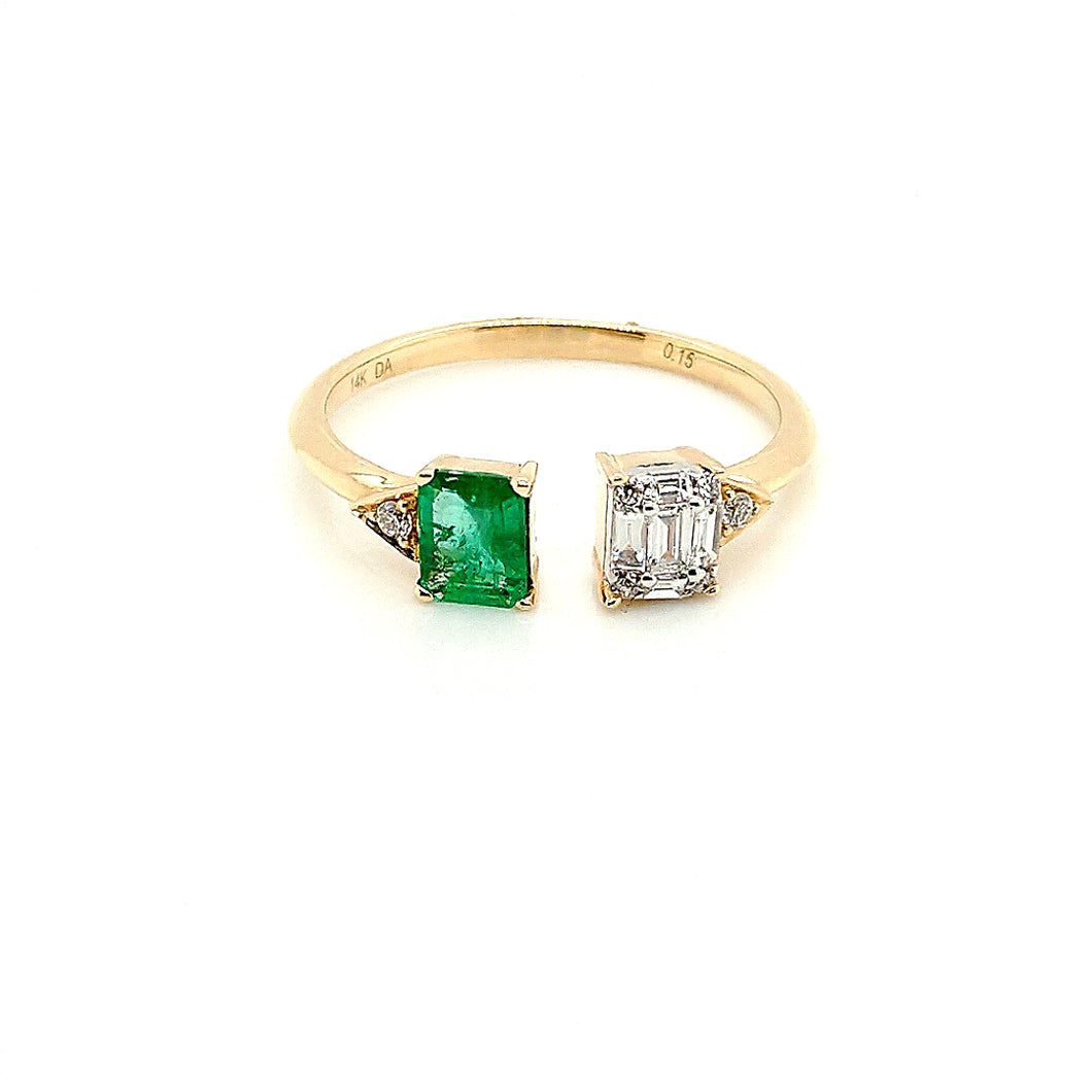 14K Yellow Gold Emerald & Diamond Open Ring