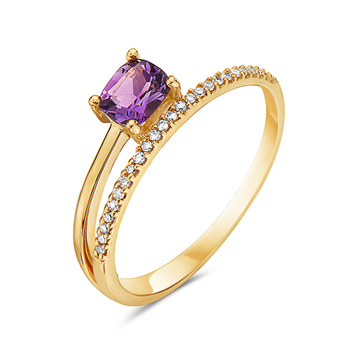 14K Yellow Gold Amethyst & Diamond Ring