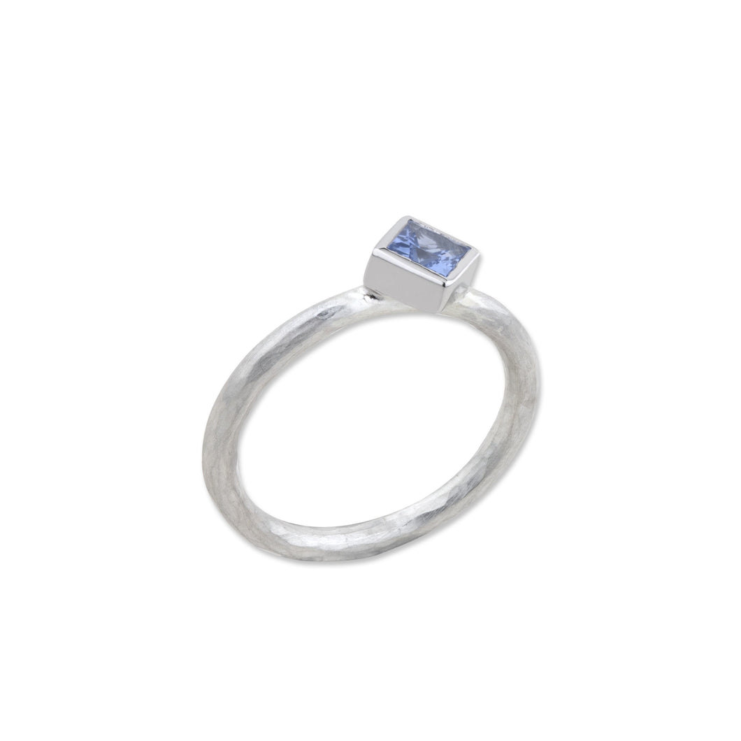 "Lika Behar Sterling Silver Carre Cut Blue Sapphire ""Prismic"" Ring"