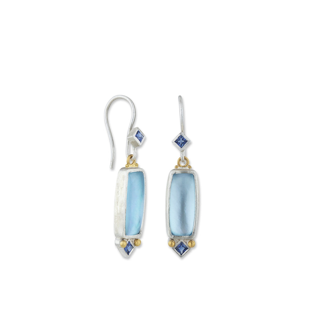 "Lika Behar 24K Gold & Sterling Silver Sky Blue Topaz & Mother of Pearl Doublet ""Dive-In"" Earrings"