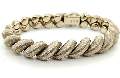 18K White Gold Solid San Marco Bracelet with Satin Finish 7