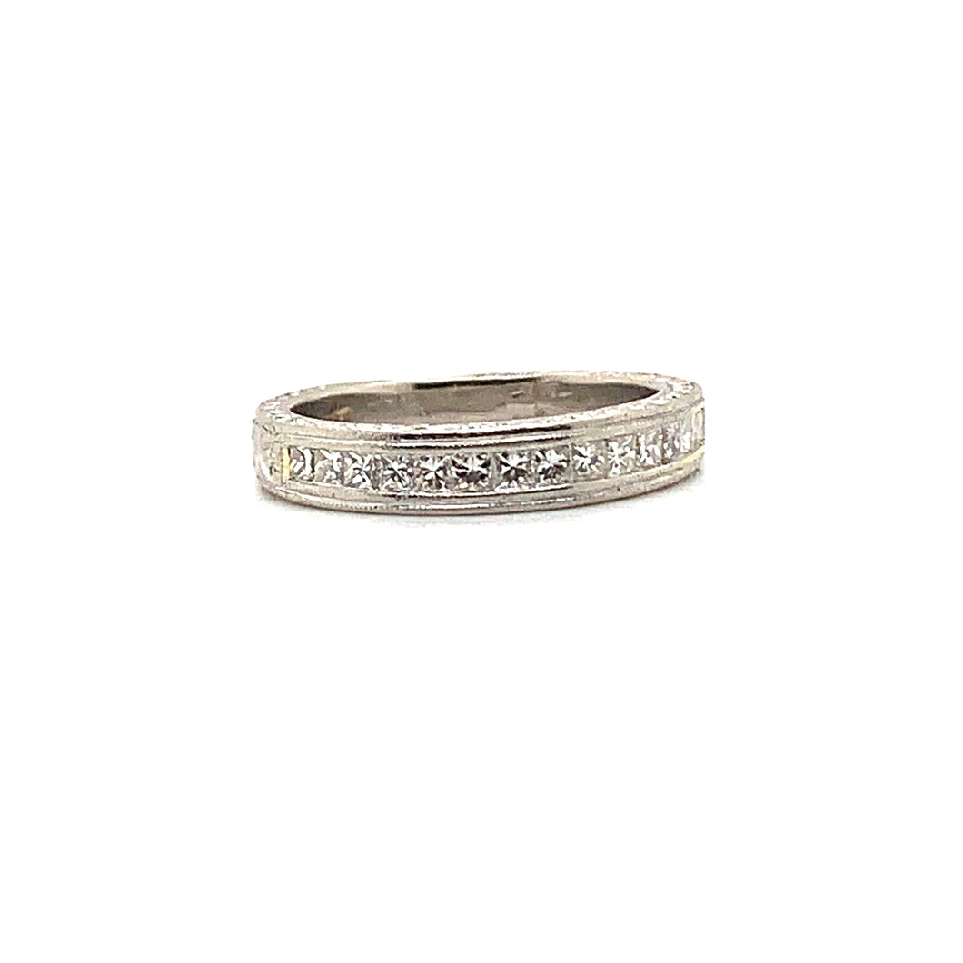 Platinum Princess Cut Diamond Channel Set Ring with Engraved & Milgrain Design