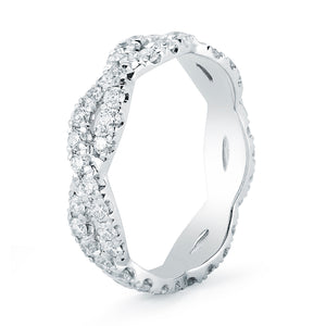 Custom Made White Gold Twisted Diamond Wedding Band