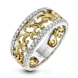18K White & Yellow Gold Floral Design Ring with Diamond Accents