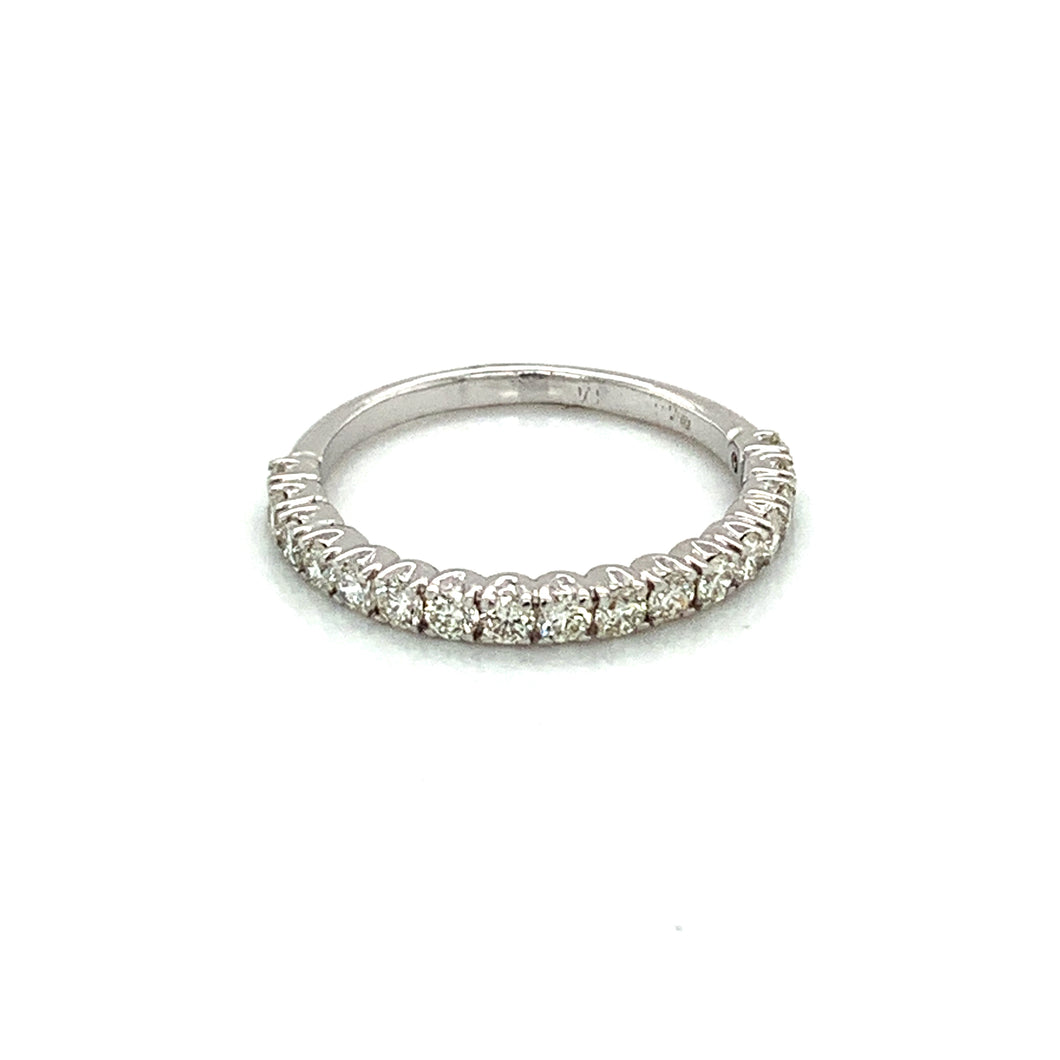 14K White Gold Diamond Halfway Wedding Band