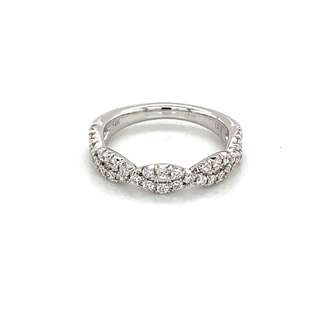 14K White Gold Diamond Entwisted Wedding Band