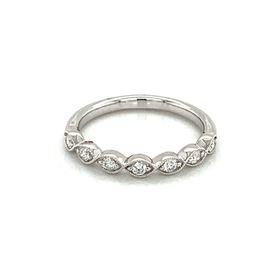14K White Gold Diamond Milgrain Marquise Design Ring