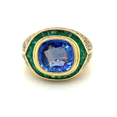 18K Yellow Gold & Ceylon Sapphire, Emerald & Diamond Ring