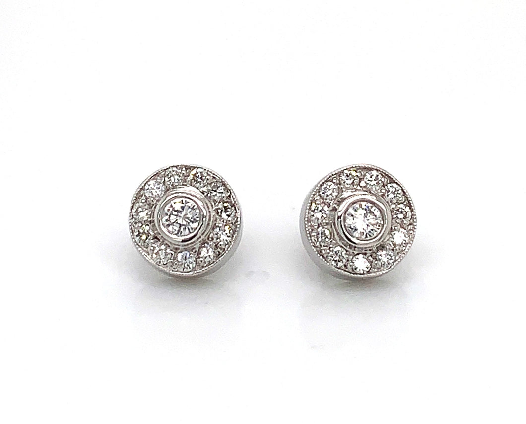 14K White Gold Diamond Halo Stud Earrings