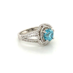 18K White Gold Round Blue Zircon & Diamond Ring