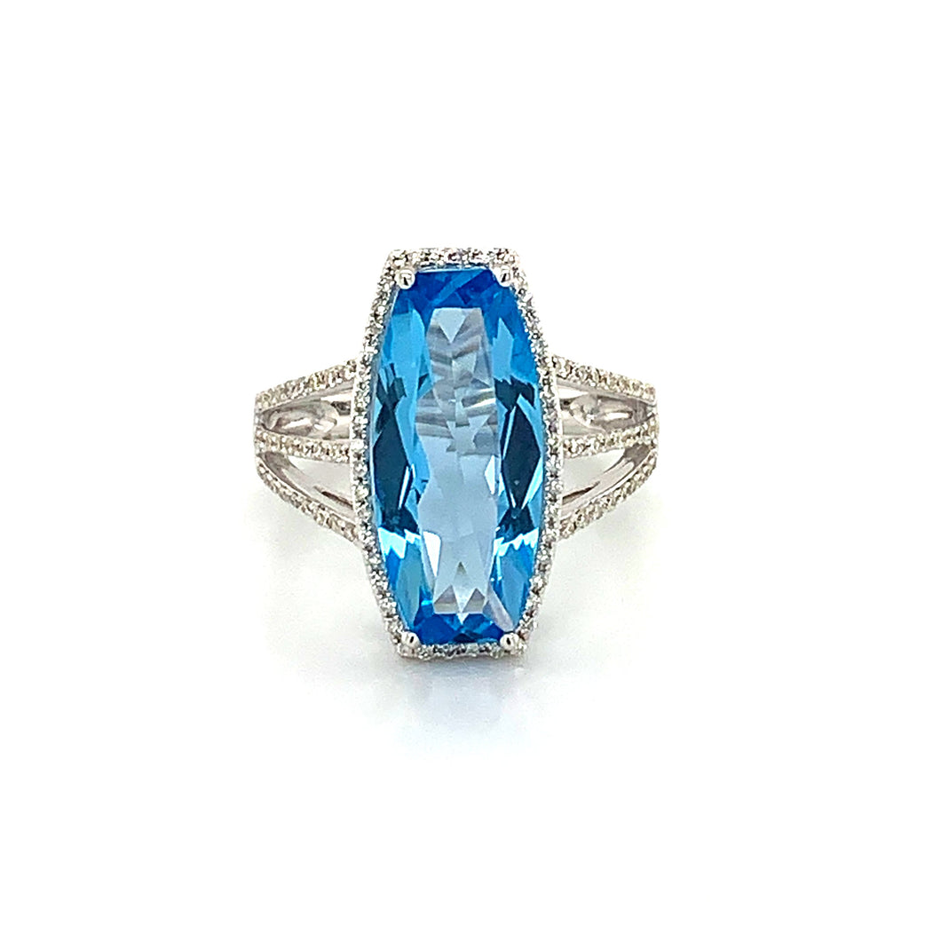 14K White Gold Custom Cushion Cut Swiss Blue Topaz & Diamond Halo Ring with Triple Shank