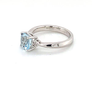 14K White Gold Cushion Cut Aquamarine & Diamond Accent Ring