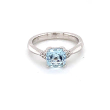 Load image into Gallery viewer, 14K White Gold Cushion Cut Aquamarine & Diamond Accent Ring