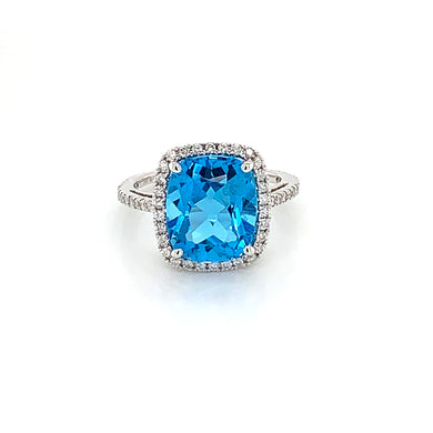 14K White Gold Large Cushion Cut Swiss Blue Topaz & Diamond Halo Ring