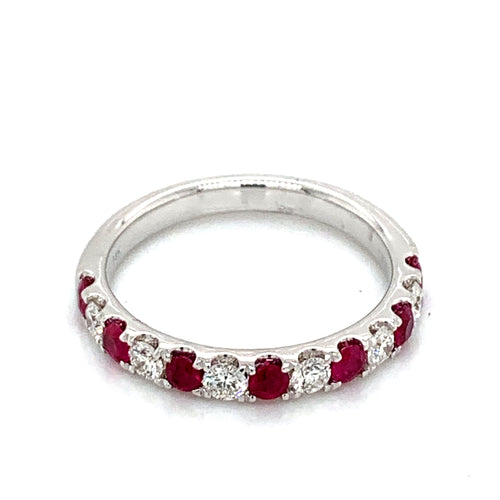 14K White Gold Ruby & Diamond Alternating Band