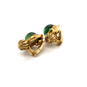 "18K Yellow Gold Elizabeth Gage ""Valois"" Green Tourmaline Clip Earrings"