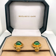 "Load image into Gallery viewer, 18K Yellow Gold Elizabeth Gage ""Valois"" Green Tourmaline Clip Earrings"