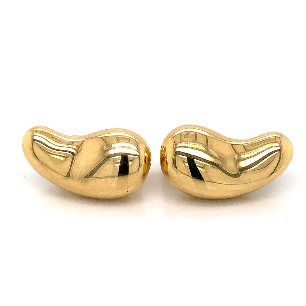 18K Yellow Gold Tiffany & Co. Large Bean Earrings by Elsa Peretti