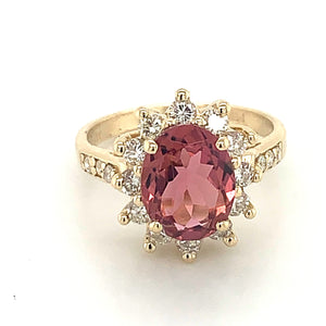 14K Yellow Gold Pink Tourmaline & Diamond Ring - Online Exclusive