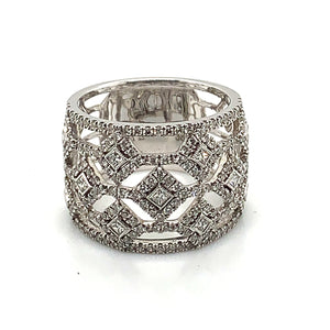 14K White Gold Wide Diamond Fashion Ring