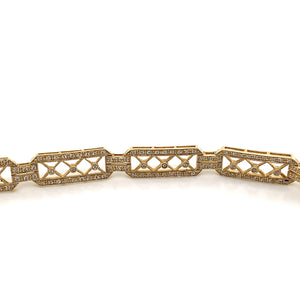 14K Yellow Gold Diamond Bracelet with X Design Links