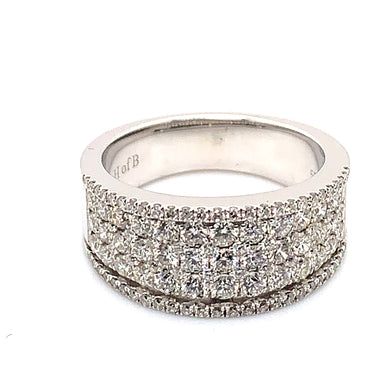 14K White Gold Wide Diamond Ring with 1.5 Carat Total Diamond Weight