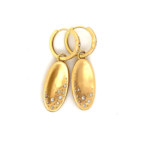 18K Yellow Gold Oval Drop Earrings with Matte Finish & Diamond Accents