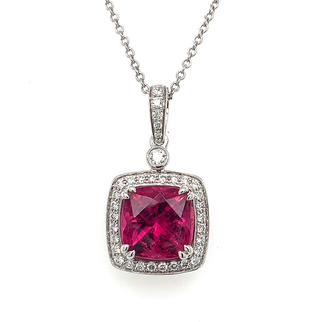 18K White Gold Rubellite Tourmaline & Diamond Halo Necklace