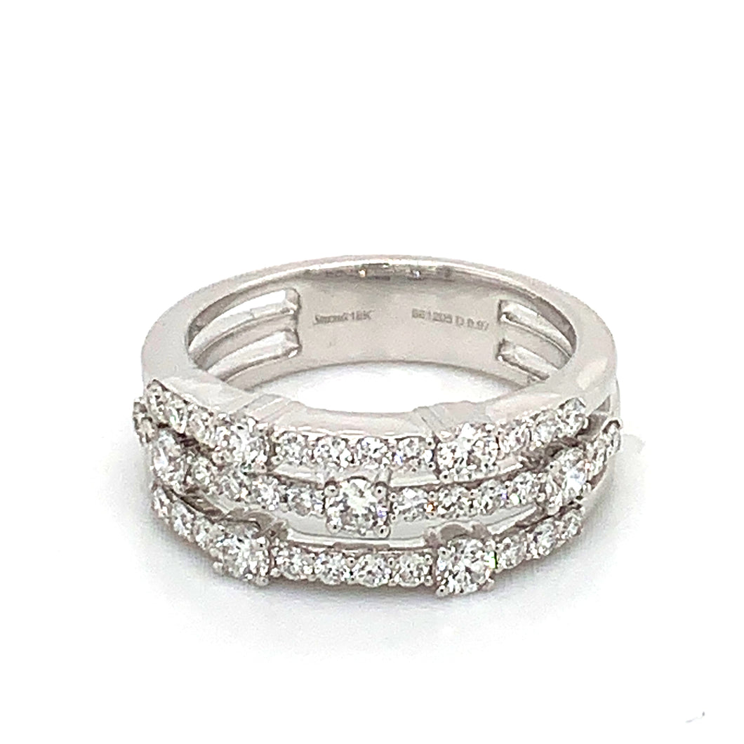 18K White Gold Three Row Diamond Ring