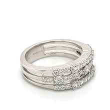 Load image into Gallery viewer, 18K White Gold Three Row Diamond Ring