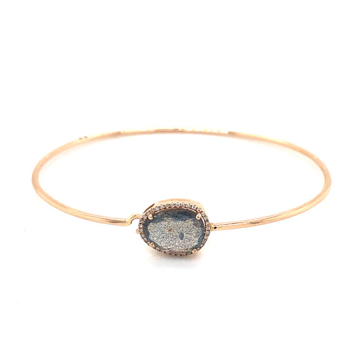 14K Rose Gold Labradorite & Diamond Bracelet