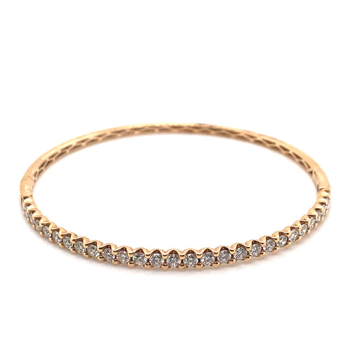 18K Rose Gold Oval Diamond Bangle Bracelet