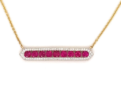 14K Yellow Gold Ruby & Diamond Bar Necklace